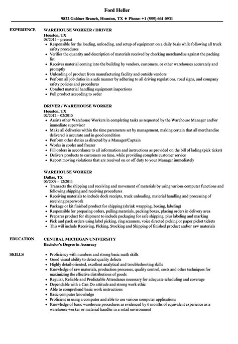 Warehouse Worker Resume by Warehouse Worker Resume Sles Velvet