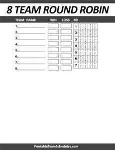 8 team bracket template printable 8 team robin bracket