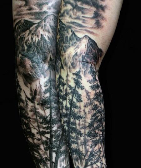 white mountain tattoo breathtaking black and white mountain forest on