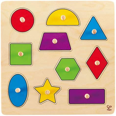 Wooden Knob Puzzle Puzzle Tombol geometric shapes 10 pc knob wooden puzzle educational