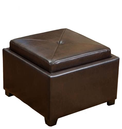 Durban Tray Top Storage Brown Leather Ottoman Coffee Table