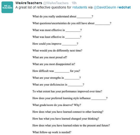 Or Question List A List Of Reflective Questions For Your Students Simplek12