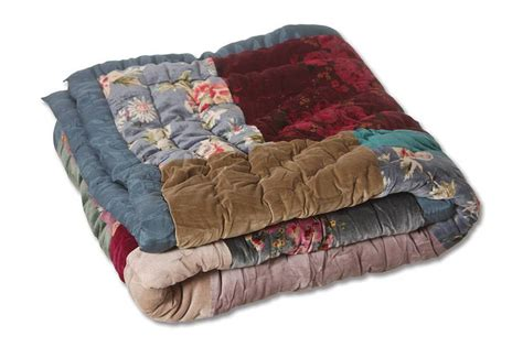 Patchwork Bed Throw - velvet patchwork bed throw decor wall furnishings