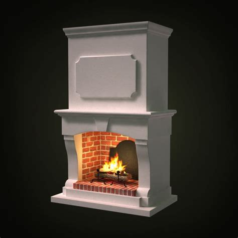 Fireplace 3d by White Wooden Brick Fireplace 3d Model Cgtrader