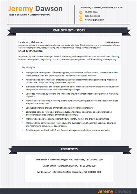 Resume Sle In Australia by Resume Exle 55 Cv Template Australia Free Curriculum Vitae Pdf Contemporary Resume
