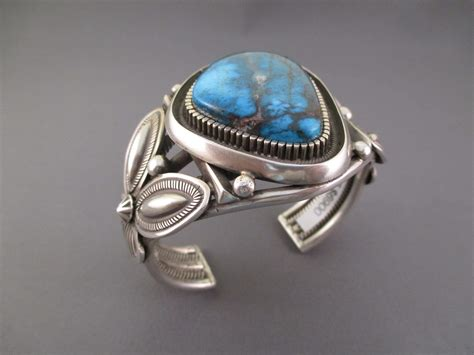 br3716 sterling silver cuff bracelet with bisbee turquoise
