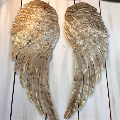 large metal angel wings wall decor distressed gold ivory - Wall Decor Angel Wings