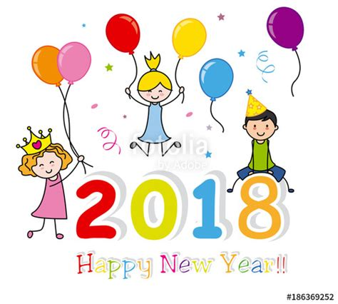 quot happy new year 2018 happy kids quot stock image and royalty