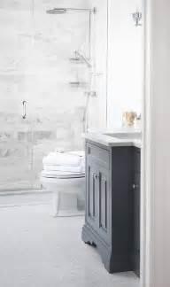 White Vanity Grey Tile Gray Washstand With Marble Herringbone Tile Floor