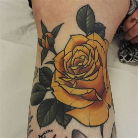 traditional yellow rose tattoo yellow neo traditional traditional