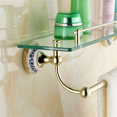 blue and white porcelain bathroom accessories ᗐwall mounted golden polished bathroom ჱ accessories