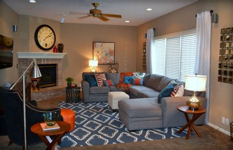 Grey Blue Orange Living Room by Casual Orange Blue And Gray Family Room Traditional