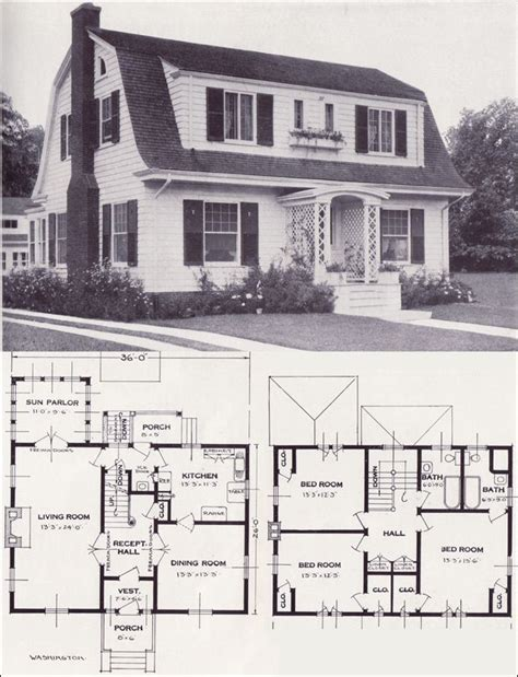 Dutch Colonial Revival House Plans | 1920s vintage home plans dutch colonial revival the
