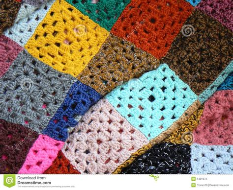 Handmade Woolen - colorful blanket made of wool stock photography image