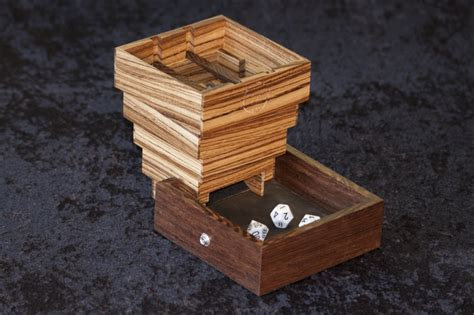 Tower Of Dices By Cm evenroot dice tower shown in zebrawood with wenge