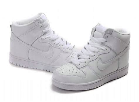 nike dunk high top premium sb all white shoes on