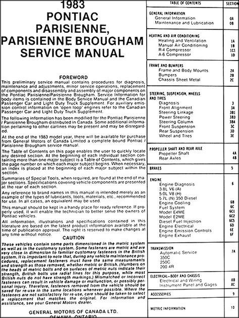 service manuals schematics 1986 pontiac grand am engine control 1986 pontiac parisienne repair manual service manual pdf 1986 pontiac parisienne engine