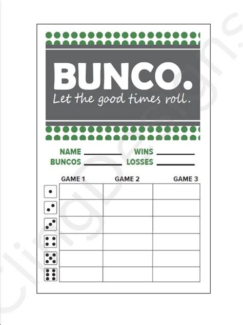 bunco templates bunco score card printable instant pdf file
