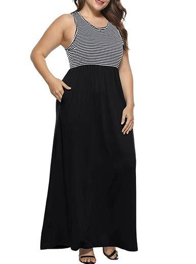 Tank Dress Plus Size Maxi by Plus Size Maxi Dress Two Tone Tank Style With Pockets Black