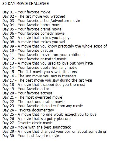 30 day song challenge 2015 day 25 the platter 30 day movie challenge day 1 je suis