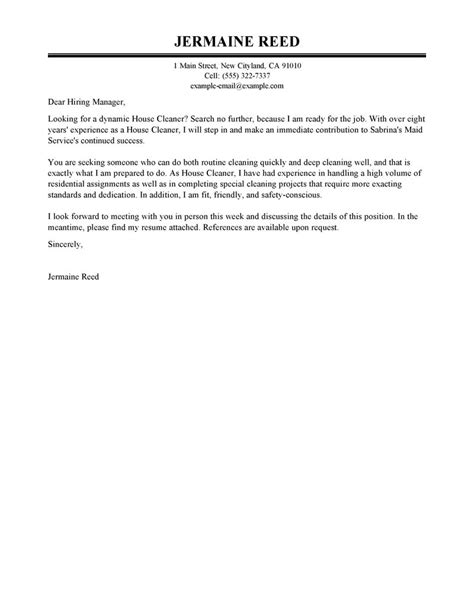 best house cleaners team members cover letter exles