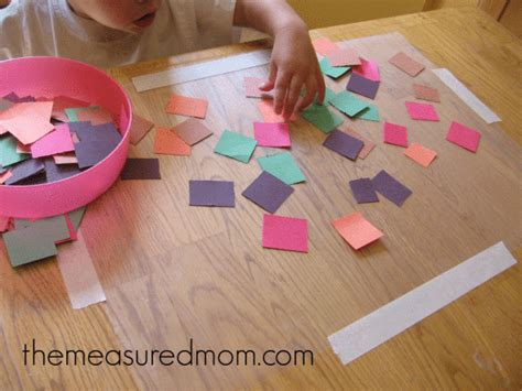 Contact Paper Crafts - toddler time 5 ways to keep a 1 year busy the