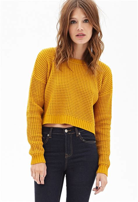 Forever21 Mustard Crop forever 21 cropped waffle knit sweater you ve been added