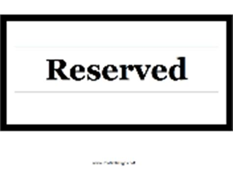 Printable Signs Conference Room Reserved Sign Template