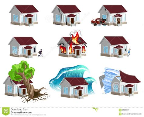 www house insurance set homes disaster home insurance property insurance stock vector image 61629261