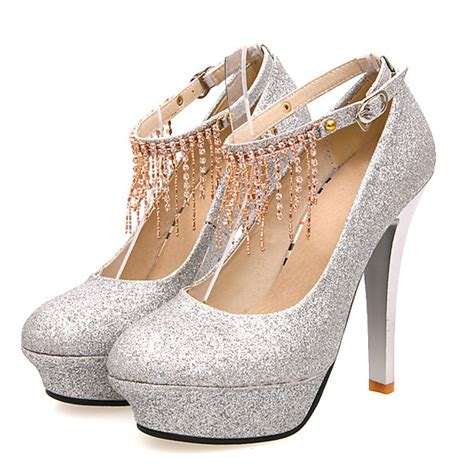 silver high heels with ankle stiletto high heels silver pu ankle pumps on