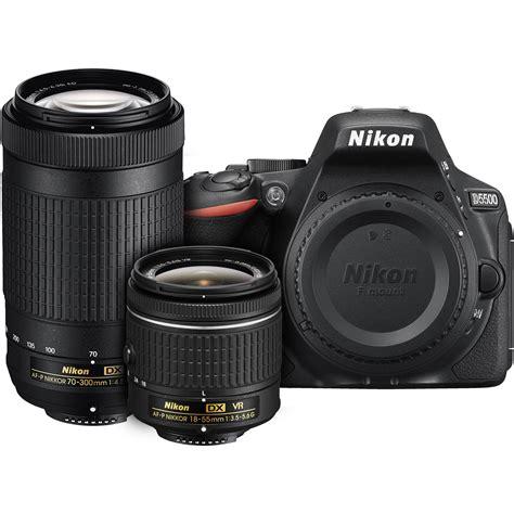 Nikon D5500 Black Af S 18 55mm Vr Ii Sandisk 8gb Screen Guard nikon d5500 dslr with af p 18 55mm vr and 70 300mm 13530