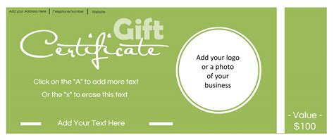 photo gift certificate template gift certificate template with logo