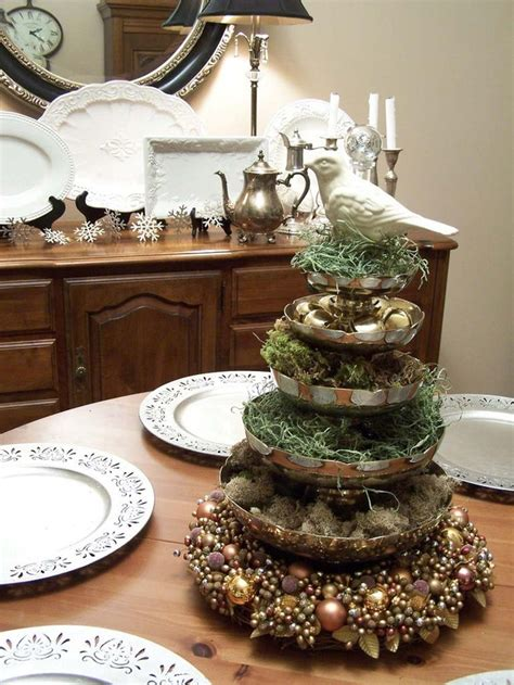 Handmade Centerpieces - partridge in a pear tree stack plates serving dishes to