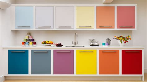 multi coloured linear kitchen from harvey jones