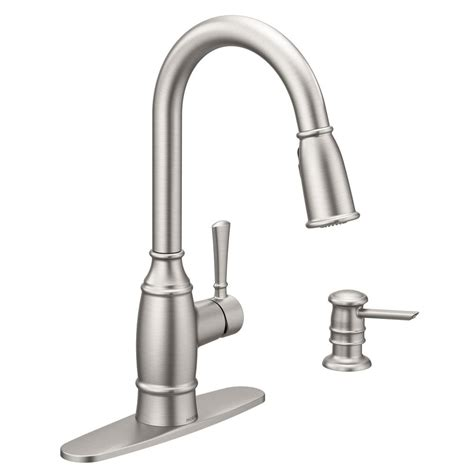moen kitchen faucet with soap dispenser moen noell single handle pull sprayer kitchen faucet with reflex and soap dispenser in spot