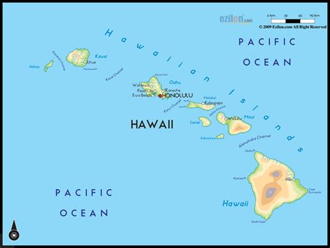 map of hawaii geographical map of hawaii and hawaii geographical maps