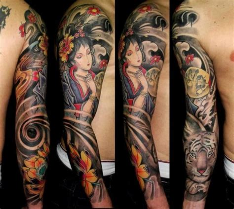 tattoo geisha orientale geisha tiger sleeve by javier tattoo tattoos pinterest