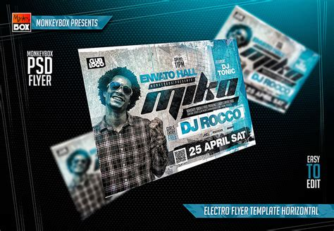 Electro Flyer Template Horizontal By Andydreamm On Deviantart Horizontal Flyer Template