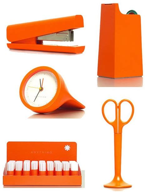 orange desk accessories desk accessories stapler scissors clock orange