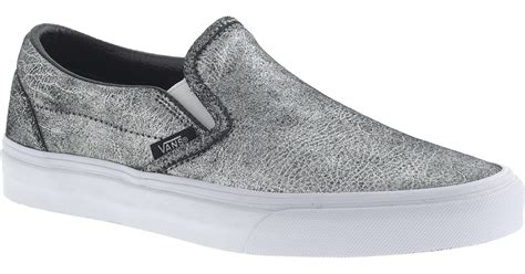 Slip On On19 Putih 2 j crew unisex vans classic slip on sneakers in metallic silver leather in metallic lyst
