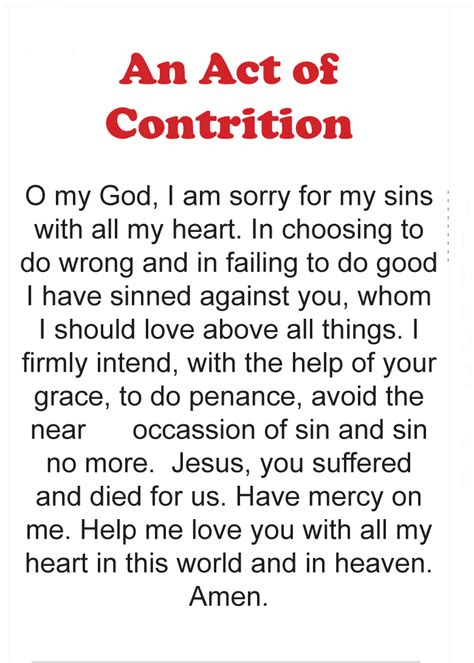 Act Of Contrition Worksheet by Philothea On Phire October 2013