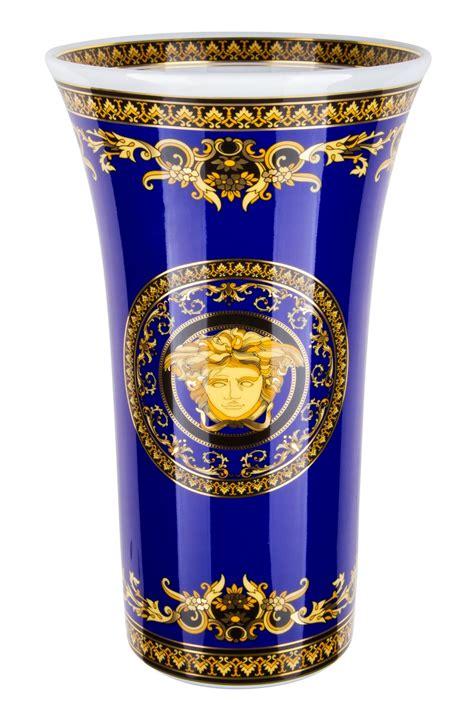 Versace Vase by Versace Medusa Blue Vase 26cm Rosenthal Smith