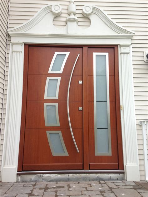 Exterior Door Panel Modern Exterior Front Doors With Frosted Glass Sidelite And Gray Stained Teak Wood Door Panel