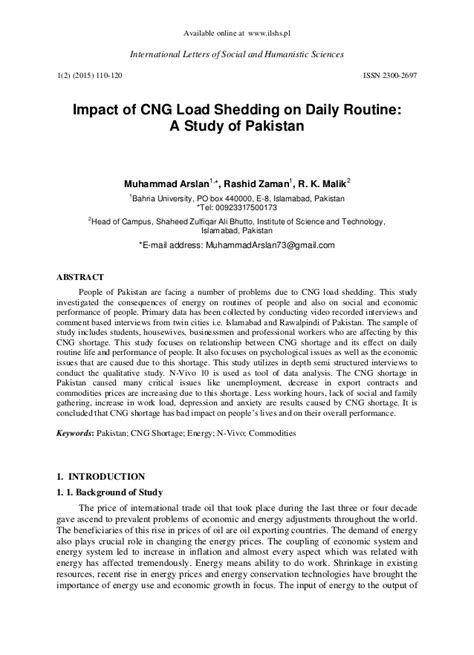 impact of cng load shedding on daily routine a study of
