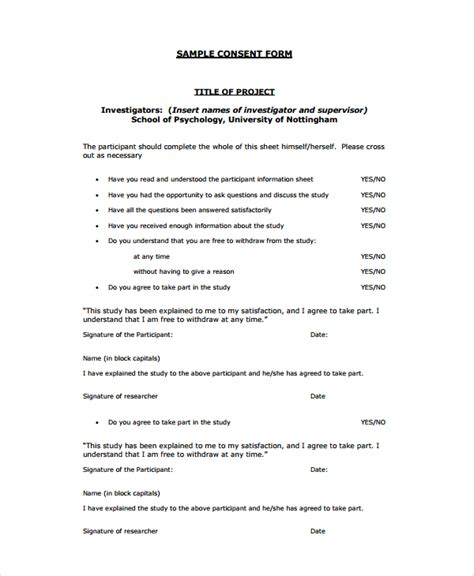 psychological study template 8 psychology consent forms sle templates
