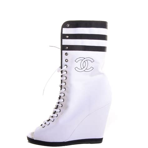chanel canvas lace up wedge boots 37 5 white black 97600