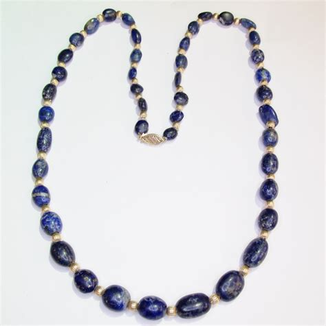blue lapis bead necklace blue lapis and gold bead necklace from warejewelry on ruby