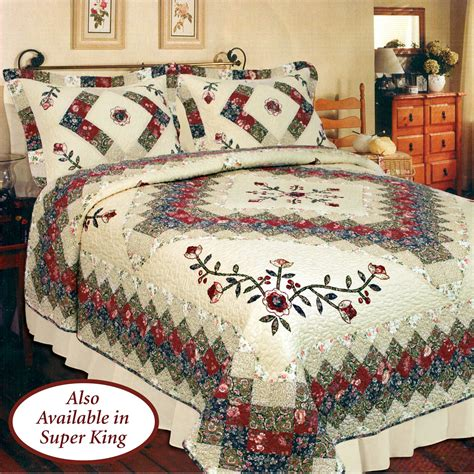 bedding quilts victorian treasures floral patchwork quilt bedding