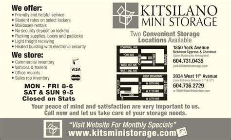 mini storage vancouver bc kitsilano mini storage opening hours 2034 11th ave w
