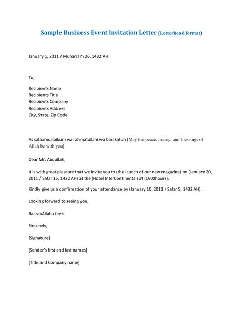 Invitation Letter Format For Event saudi arabia letter of invitation sle letter chainimage